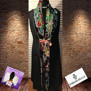Emilio Pucci Abstract Silk  Black Dress 8 NWOT